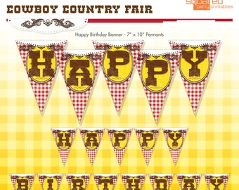 Cowboy Country Fair Birthday Party Printable Happy Birthday Banner - DIY Print - Instant Download