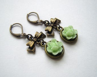 Polymer clay Green Flower Earrings