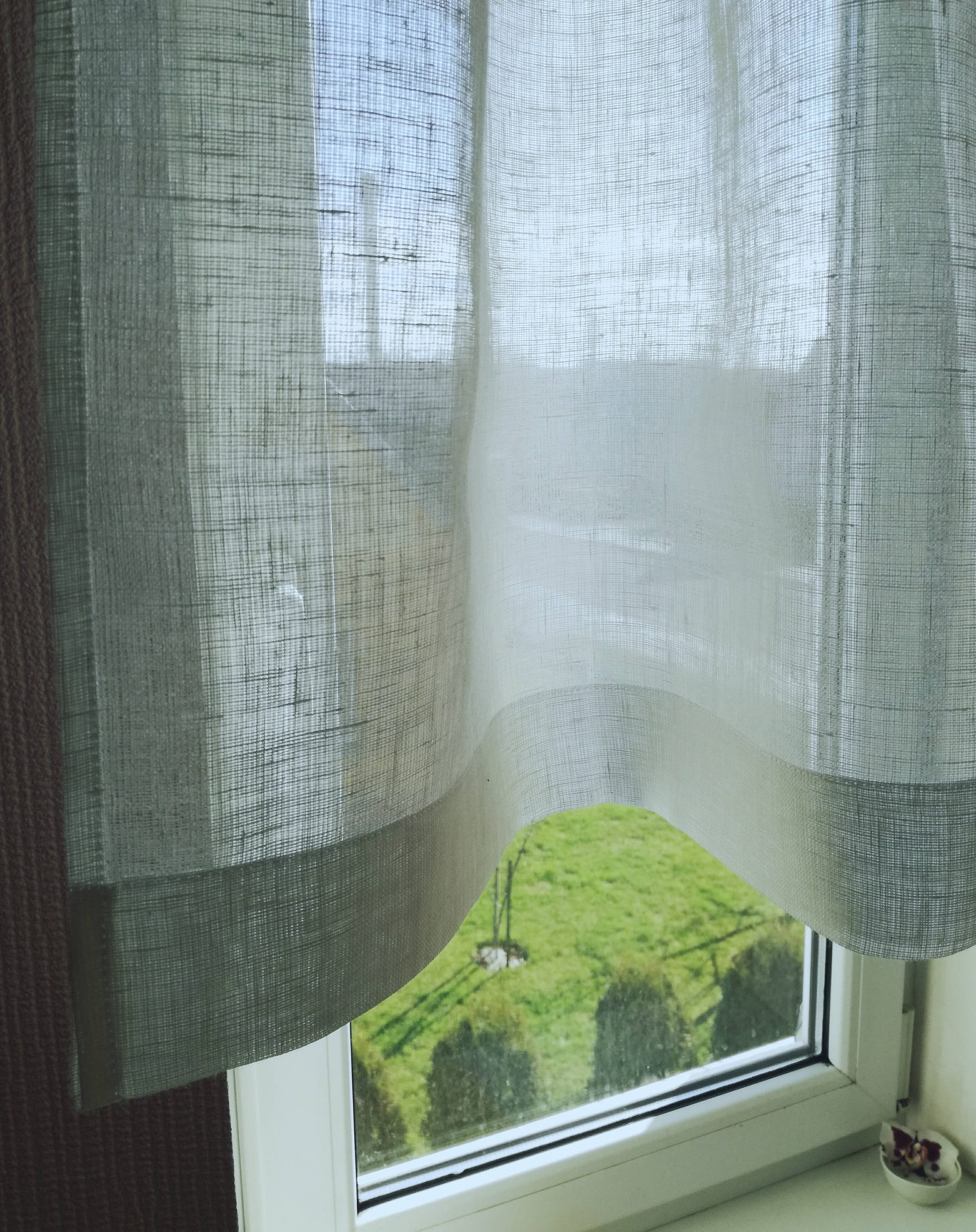 Weißes Leinen Cafe Vorhang schiere Leinen Vorhang Bad