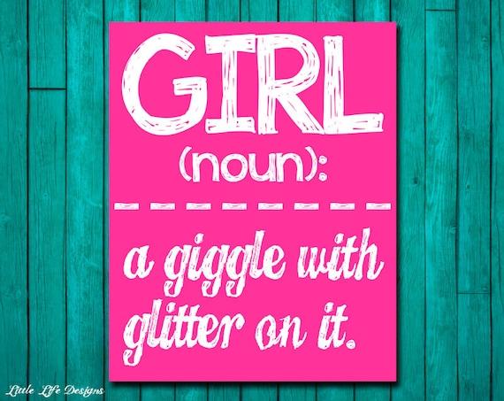 Girl wall art girl room decor girl a giggle with glitter - Cool stuff for girls room ...