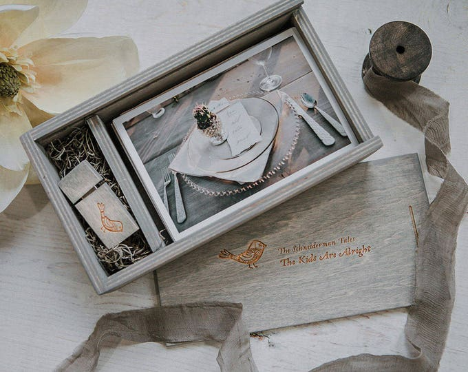 4x6 - Wood print box for 4x6 photos and usb drive (8gb option) - rectangle - (spanish moss included)