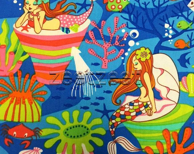 MERMAID Blue Quilt Fabric - by the Yard, Half Yard, or Fat Quarter Fq Lime Pink Aqua Mermaids Under the Sea Ocean Starfish Fish Turtles