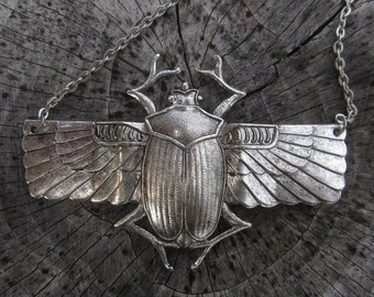 Winged Scarab Beetle Necklace- Silver