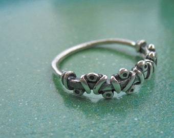 Unique Southwest corset cross laced sterling silver ring- size 6 silver ring