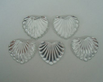 Jumbo Scalloped Clear Heart Acrylic Cabochons Set of Five