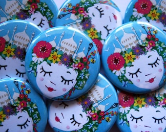 Brighton In Bloom - Brighton Badge - Cute Badge - Wearable Art - Brighton Art