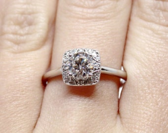 Accented Diamond Halo 14k White Gold Engagement Ring Mounting for 6mm center stone