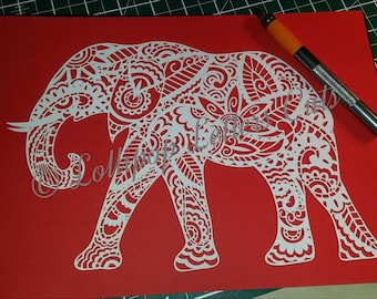 Paisley Elephant, DIY, Paper Cutting Template