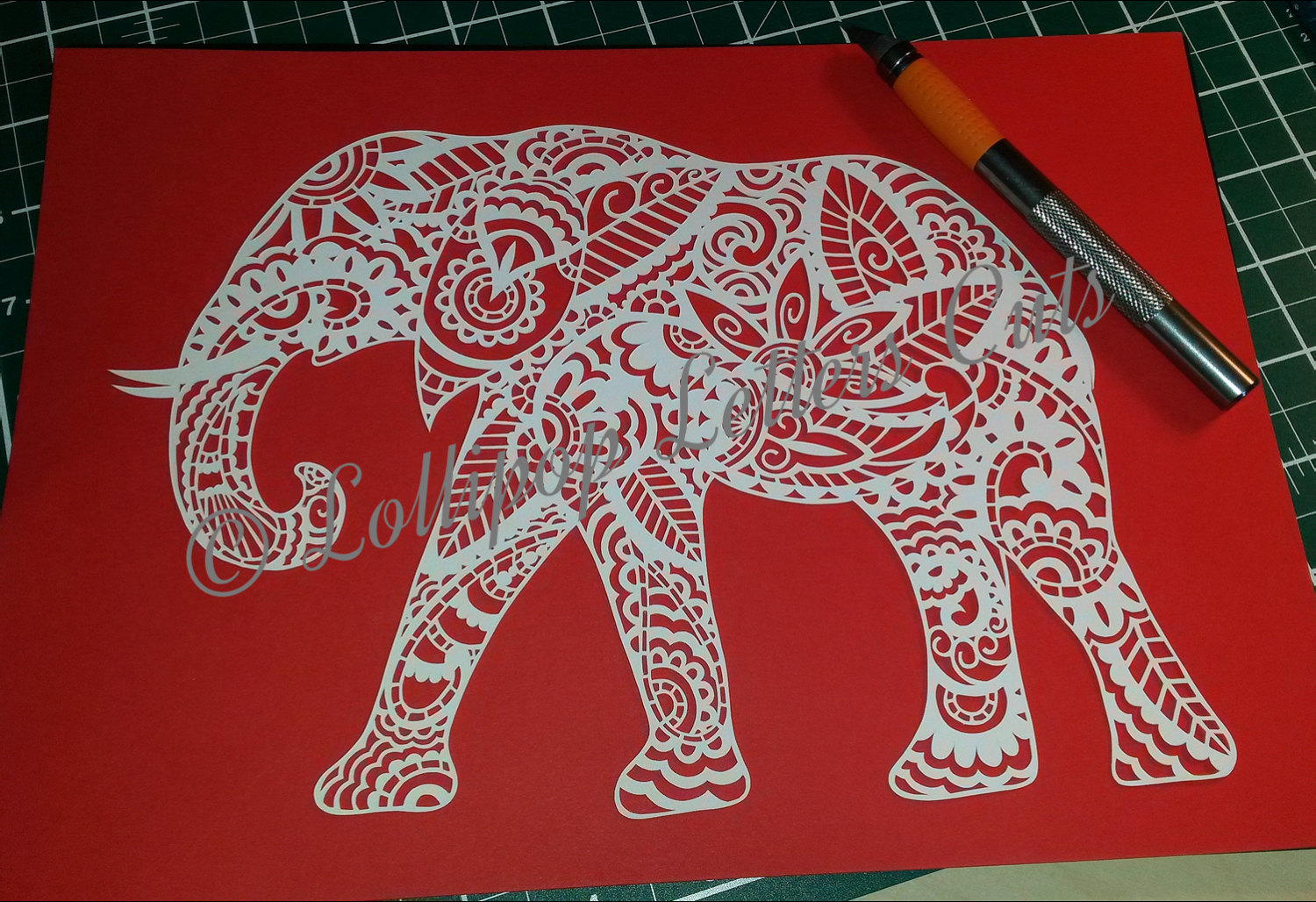 Paisley Elephant DIY Paper Cutting Template