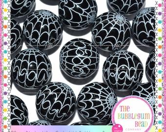 20mm BLACK SPIDERWEB HALLOWEEN Bubblegum Beads, Bubblegum Beads, Gumball Beads, Chunky Beads, Photo Prop, Chunky Necklace Beads, Bubblegum