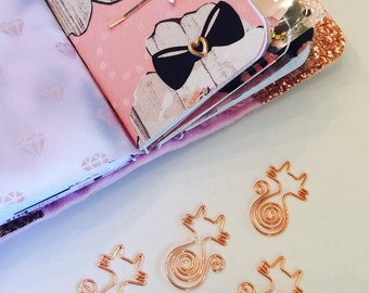 Rose Gold Kitty Planner Clip ~ Rose Gold Cat Planner Clip ~ Page Clip ~ Bookmark ~ Page Marker