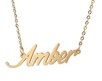 Custom Name Necklace Personalized Initial Necklaces in Golden Silver Amber