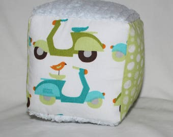 Organic Blue and Green Vespas and Dots Fabric Block Rattle