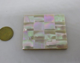 Pretty Vintage Mother of Pearl Mirror and Powder & Powder Compact - unused