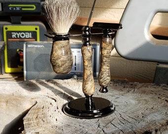 Buckeye burl shaving set