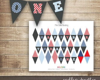 Mini Cake Bunting in Red, White & Blue / Stripes, Polka Dots, Argyle / First Birthday / Boy's 1st Birthday INSTANT DOWNLOAD - Printable