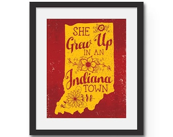 She Grew Up In An Indiana Town - Wall Art Print. Tom Petty 'Last Dance With Mary Jane' Red and Corn Yellow Indiana Pride frame ready print