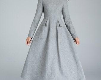 wool dress, dress with pockets, light grey dress, winter dress, designers dress, handmade dress, long dress, womens dresses, gift  1620