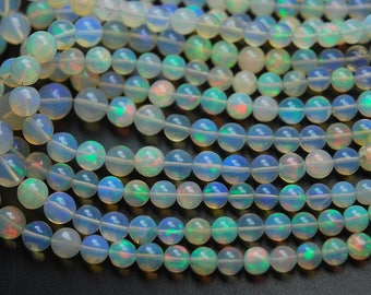 58 Carats,18.5 Inches,Natural ETHIOPIAN Opal Smooth Round Rondelles,Size 4-7.5mm