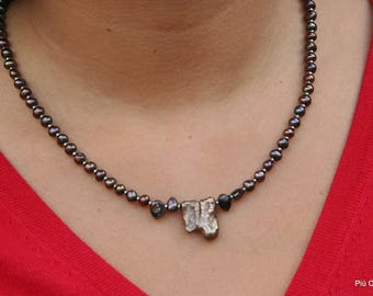 Necklace of Brown freshwater pearls and hematite, with Silver Spring ring closure