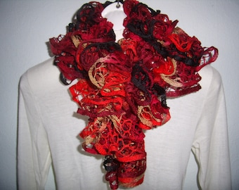 Ruffle scarf, bells or french cancan gradient black and Red cowl, scarf, infinity, is handmade