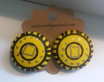 Golden Sun button earrings