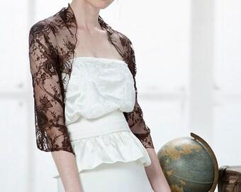 Brown Lace Shrug Bolero. Brown Lace Loop Shawl With 4 Wearing Options- Shawl, Shrug, Crisscross And Scarf. Elegant Fashion Accessory (DL114)