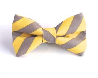 Yellow Grey Stripe Dog Bow Tie