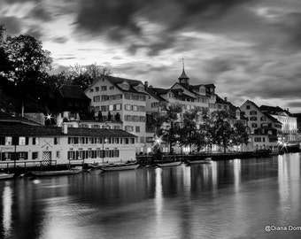 Black & White Twilight in Zurich   8x10 Photography Switzerland, lights, city streets, european, travel, wall decor, home decor