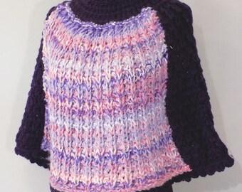 Bicolor wool hood