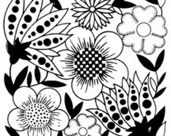 Mixed Flowers Black White Pop Sixties Groovy - Digital Image - Vintage Art Illustration - Instant Download