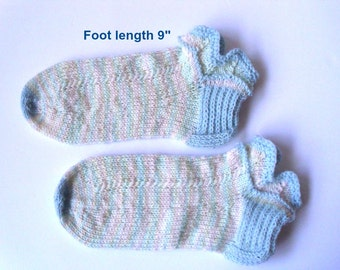 "Ankle socks hand knit.  Foot lenght 9"".  Slipper socks. Lace cuffs and reinforced  heels. Ready to ship"