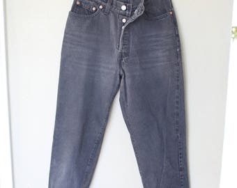 vintage black distressed levis button fly 501 denim high rise tapered mom jeans 28