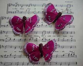 Decorative paper Butterfly purple and black to be attached to any ornament, sold in packs of 3.