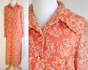 70s Full Length Long Sleeve Peach Lace Dress with Sheer Lace Sleeves  - Salmon and Beige Color Lace Maxi Dress - Rhinestone Buttons - Medium