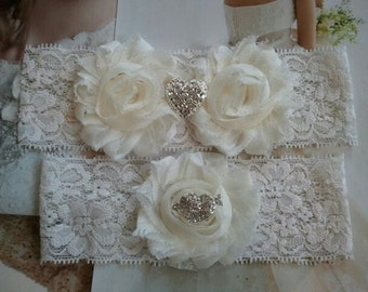 SALE - Wedding Garter, Bridal Garter, Garter - Ivory Flowers on a Stretch Ivory Lace with Heart Rhinsteones - Style G2028