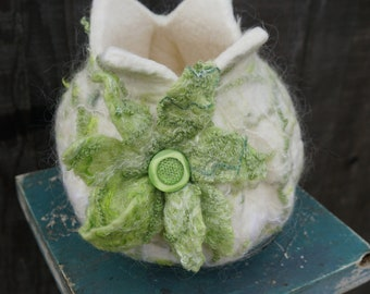 Green and White Felted Vessel with Flower (Vase)