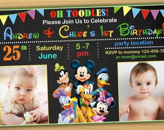 Joint birthday party invitation with photo gold glitter double sale mickey mouse birthday invitation mickey mouse clubhouse birthday invitation mickey mouse twins invitation stopboris Image collections