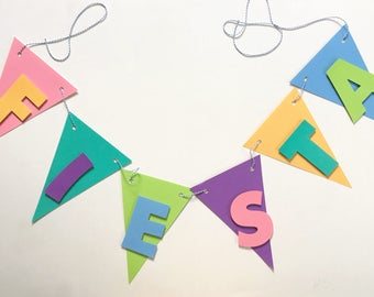 Fiesta Banner | fiesta birthday party, colorful, rainbow, mexican theme, mexico, pinata theme, fiesta bunting, celebration, party bunting
