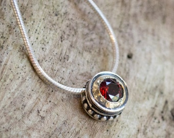 Garnet necklace, yellow gold silver necklace, Small pendant necklace, sterling silver necklace, mixed metal necklace - Gold Slide N0434X