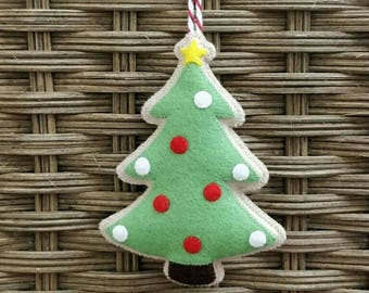Felt Christmas tree cookie ornament