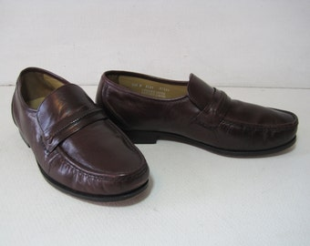 THE HANOVER SHOE  Penny Loafers Shoes Size: 10.5 W Men's Leather Vintage Retro A1016Bz