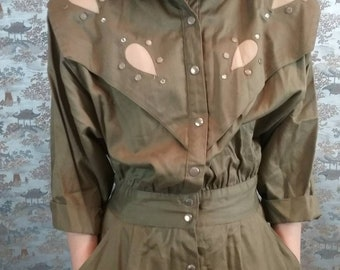 Vintage 80s olive green military inspired dress - street fashion