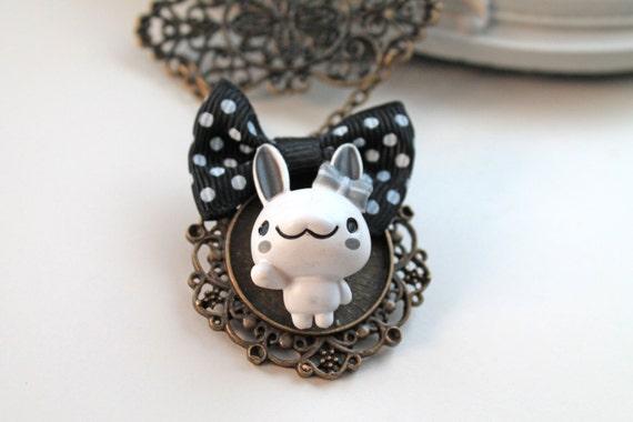 Bunny girl Necklace kawaii lolita art nouveau rabbit cute animal