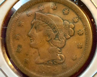 "1852 Braided Hair Large Cent ""XF"""