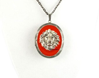 Lion Pill Box Necklace Inlaid in Hand Painted Orange Enamel Antique Silver Oval Locket Necklace with Color and Personalized Options