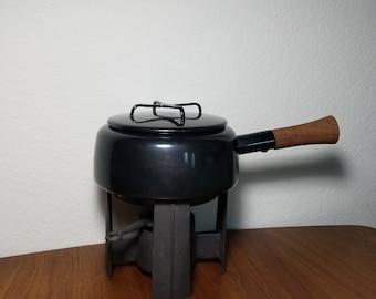 Dansk Kobenstyle Black Fondue Pot W/ Warmer Stand