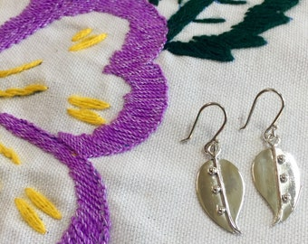 Solid Silver Dangle Leaf Earrings - Fine Silver (.999) Gift for Her - Handcrafted Mexican Jewelry