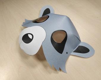 Raccoon Mask Printable Raccoon costume animal mask grey halloween