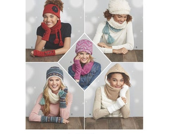 Sewing Pattern for Misses' & Teens Knit Cold Weather Accessories, Simplicity Pattern 8273, Fleece Hat, Hood, Gloves, Scarf